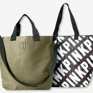 PINK 2 Bags Insulated Cooler & Canvas Tote